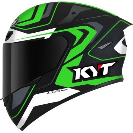 Casco integrale moto Kyt TT Course Overtech nero verde black green helmet casque