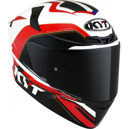 Casco integrale moto Kyt TT Course Grand Prix bianco blu rosso white red blue helmet casque