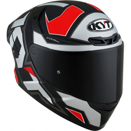 Casco integrale moto Kyt TT Course Electron nero opaco grigio rosso matt grey red helmet casque