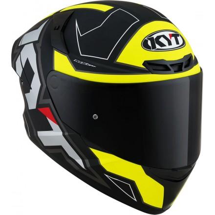 Casco integrale moto Kyt TT Course Electron nero opaco grigio giallo matt grey yellow helmet casque