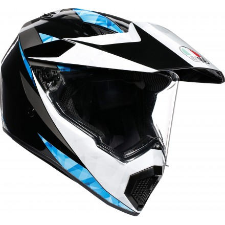 Casco integrale moto enduro stradale touring adventure Agv Ax-9 North nero lucido bianco ciano black white cyan helmet casque