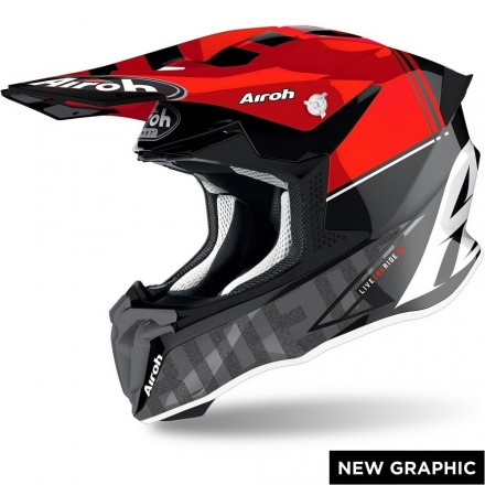 Casco moto cross enduro motard off road Airoh Twist 2.0 Tech rosso red TW2T55 helmet casque