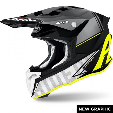 Casco moto cross off road Airoh Twist 2.0 Tech giallo opaco yellow matt TW2T31 helmet casque