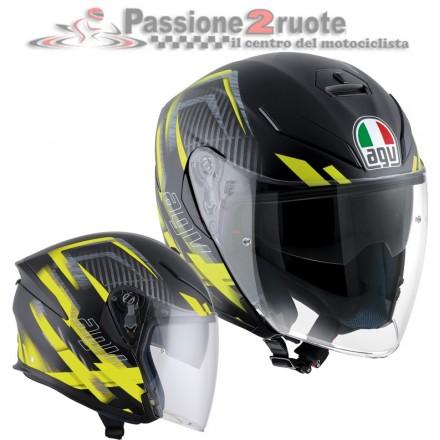 Casco jet fibra Agv K5 jet Urban Hunter nero opaco giallo matt black yellow helmet casque