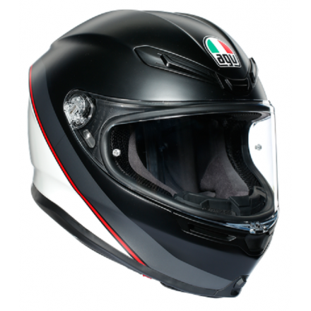 Casco integrale moto Agv K6 Minimal pure nero opaco bianco rosso matt black white red helmet casque