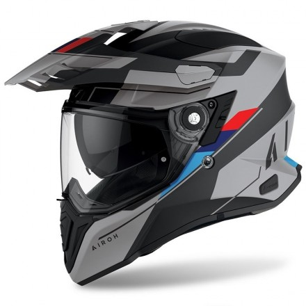 Casco integrale moto on off adventure Airoh Commander Skill Grey matt blu red CMSK81 helmet casque