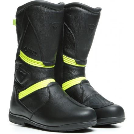 Stivali pelle moto touring Dainese Fulcrum GT goretex nero giallo black yellow fluo leather Boots