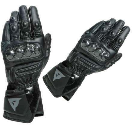 Guanti pelle lunghi moto racing pista corsa Dainese Carbon 3 Long nero Black leather gloves