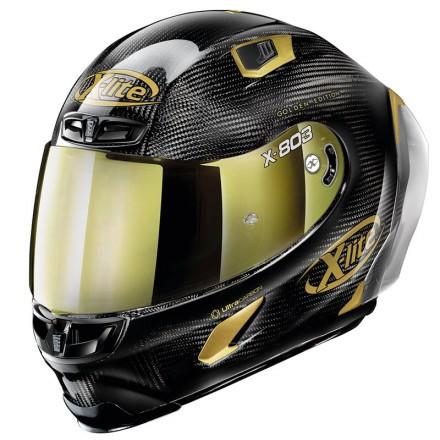 Casco integrale carbonio moto Xlite X803 Rs Ultra carbon Hot Lap oro gold 33 full face helmet casque