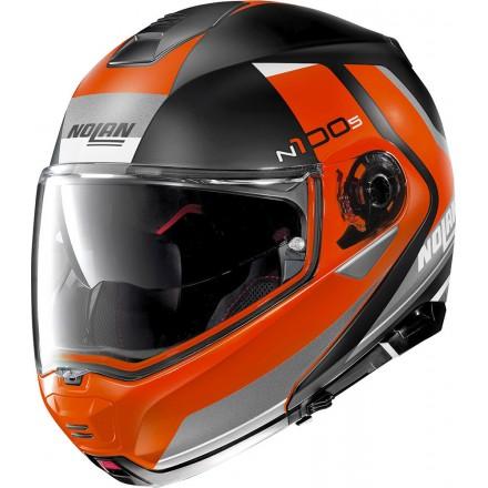 Casco modulare apribile moto Nolan N100-5 Hilltop nero opaco arancione flat black orange 52 flip up helmet casque