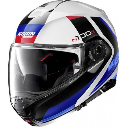 Casco modulare apribile moto Nolan N100-5 Hilltop bianco rosso blu red white 49 flip up helmet casque