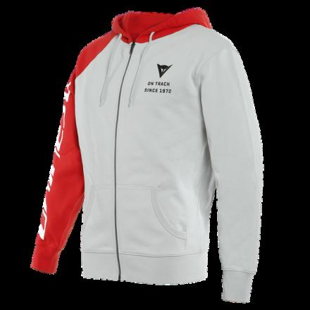 Felpa Dainese Full-zip Paddock Glacier-Gray Lava-Red Black hoodie sweatshirt