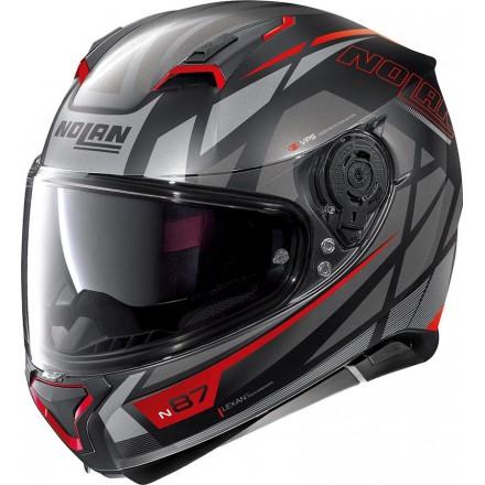 Casco integrale moto N87 Originality nero opaco grigio rosso black matt grey red 69 Ncom helmet casque