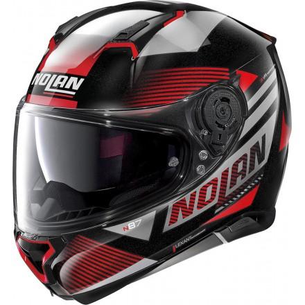 Casco integrale moto Nolan N87 Jolt nero rosso black red 101 Ncom helmet casque