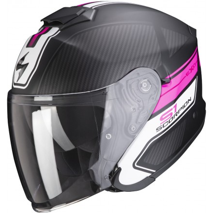 Casco donna jet fibra visiera lunga Scorpion Exo S1 Cross-Ville nero opaco rosa black mat pink fiber helmet casque