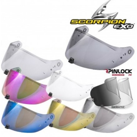 Visiera Casco Scorpion Exo 2000-Evo-1200-710-510-410-390 smoke iridium mirror gold purple blu visor