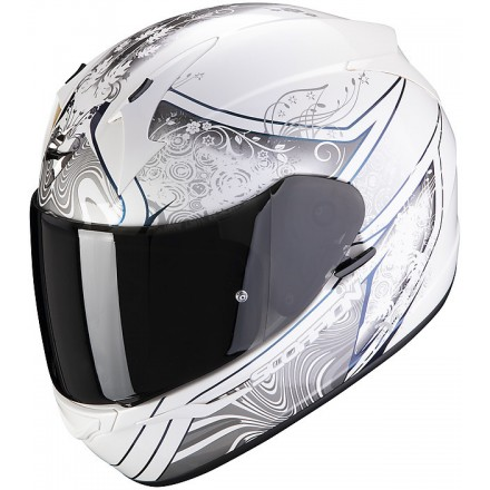 Casco integrale moto Scorpion Exo-390 Clara bianco argento white silver lady woman helmet casque