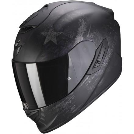 Casco integrale fibra moto Scorpion Exo 1400 air Asio nero opaco argento black matt silver fullface helmet casque