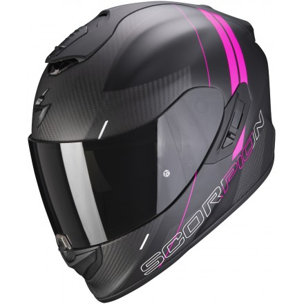 Casco integrale donna carbonio moto Scorpion Exo 1400 Carbon Drik nero opaco fucsia black matt lady helmet casque