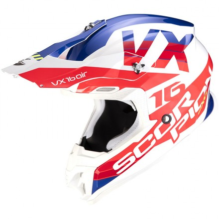 Casco moto cross Scorpion Vx-16 Evo Air X-Turn bianco rosso blu white red off road enduro motard helmet casque