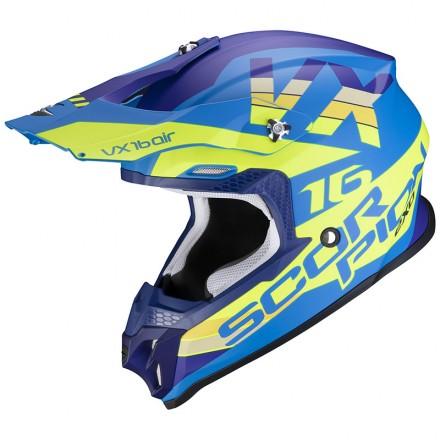 Casco moto cross Scorpion Vx-16 Evo Air X-Turn blu opaco giallo blue mat yellow neon off road enduro motard helmet casque