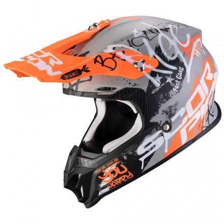 Casco moto cross Scorpion Vx-16 Evo Air Oratio grigio arancione grey orange off road enduro motard helmet casque