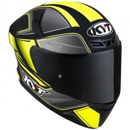 Casco integrale moto Kyt TT-Course Tourist nero opaco giallo matt yellow fluo helmet casque