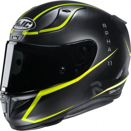 Casco integrale moto fibra racing Hjc Rpha 11 Jarban nero giallo black yellow Mc4 helmet casque