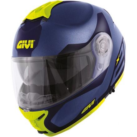 Casco modulare apribile moto Givi X21 hx21 blu opaco giallo fluo yellow blue mat flip up helmet casque