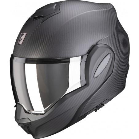 Casco modulare apribile reversibile moto Scorpion Exo Tech Carbonio opaco Carbon matt flip up helmet casque