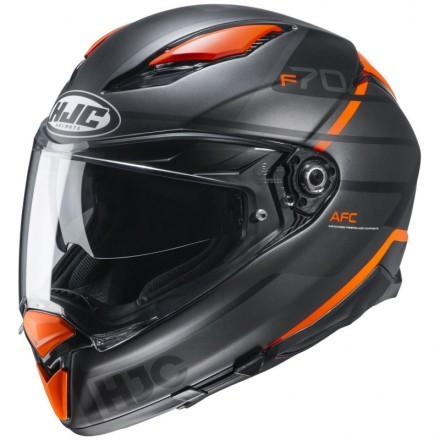 Casco integrale moto Hjc F70 Tino nero grigio arancione MC7SF black grey orange helmet casque
