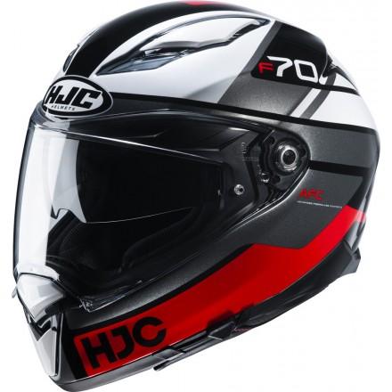 Casco integrale moto Hjc F70 Tino nero bianco rosso MC1 black white red helmet casque