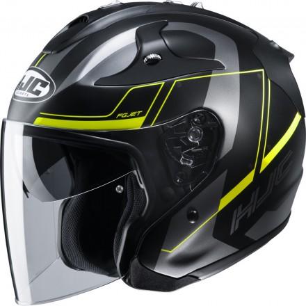 Casco Jet fibra Hjc Fg-jet Komina Mc4hsf nero opaco grigio giallo matt black grey yellow fiber helmet casque