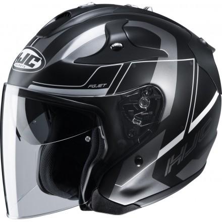 Casco Jet fibra Hjc Fg-jet Komina Mc5sf nero opaco grigio matt black grey visiera lunga e visierino da sole fiber helmet casque