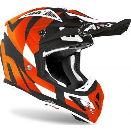 Casco moto cross Airoh Aviator Ace trick arancione matt orange enduro motard off road helmet casque