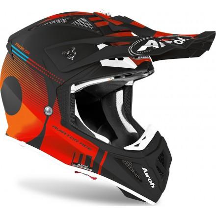 Casco moto cross fibra Airoh Aviator Ace Nemesi nero arancione orange matt enduro motard off road fiber helmet casque
