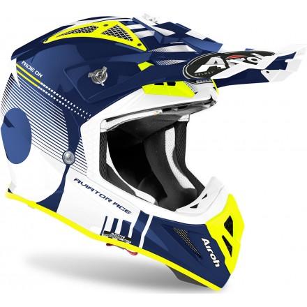 Casco moto cross fibra Airoh Aviator Ace Nemesi blu enduro motard off road fiber helmet casque