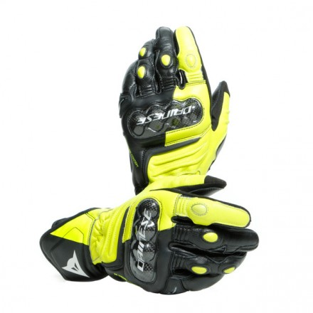Guanti pelle lunghi moto Dainese Carbon 3 Long nero giallo Black fluo yellow leather gloves