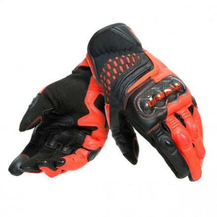 Guanti pelle corti moto Dainese Carbon 3 short nero rosso Black fluo red leather gloves