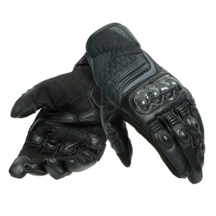 Guanti pelle corti moto Dainese Carbon 3 short nero Black leather gloves