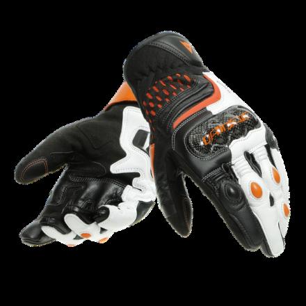 Guanti pelle corti moto Dainese Carbon 3 short nero bianco arancione Black white flame-orange leather gloves