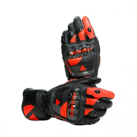 Guanti pelle lunghi moto Dainese Druid 3 nero rosso Black fluo red long leather gloves pista corsa