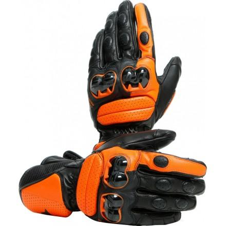 Guanti pelle Dainese Impeto nero arancione Black orange long leather gloves pista corsa