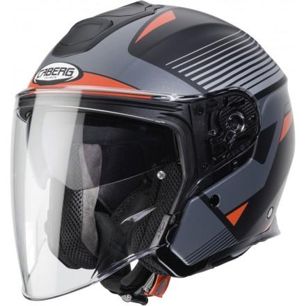 Casco fibra jet moto Caberg Flyon Rio nero opaco grigio rosso black matt grey red helmet casque