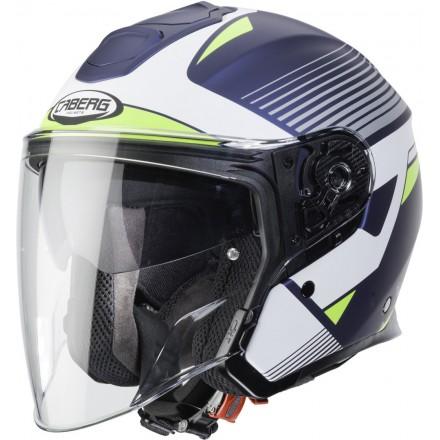 Casco fibra jet moto Caberg Flyon Rio blu opaco bianco giallo blue matt white yellow helmet casque