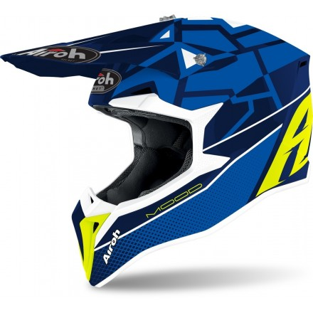Casco bambino moto cross Airoh Wraap youth Mood blu enduro motard off road helmet casque