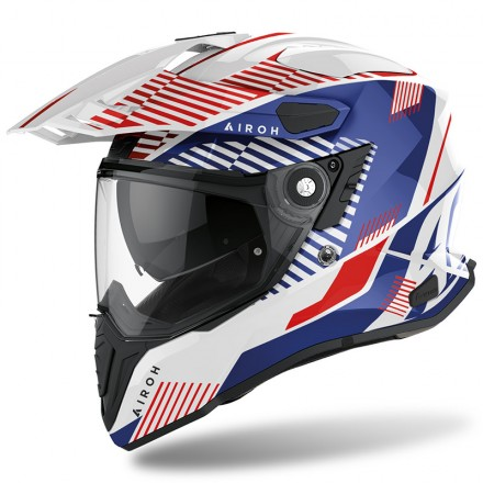 Casco Airoh Commander Boost bianco rosso blu red white CMM18 integrale moto on off adventure helmet casque