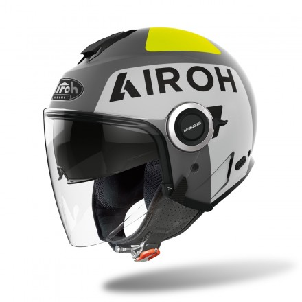 Airoh Helios UP grigio opaco giallo fluo grey matt yellow helmet casque