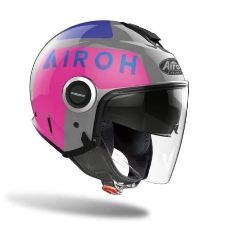 Casco donna jet Airoh Helios UP grigio fucsia grey pink gloss lady woman helmet casque