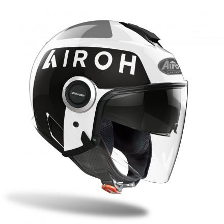 Casco jet Airoh Helios UP bianco nero white black helmet casque